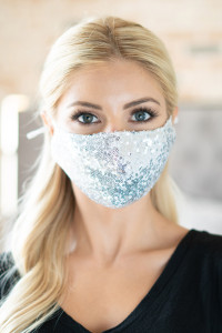 S4-8-3-AMSK2000S SILVER GLITTER SEQUINS FASHION FACE MASK W/ FILTER POCKET/6PCS
