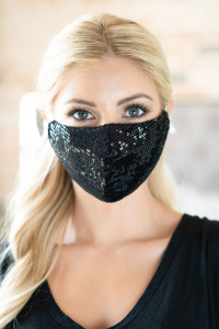 S4-9-3-AMSK2001BK BLACK GLITTER SEQUINS FASHION FACE MASK W/ FILTER POCKET/6PCS