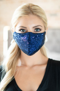 S4-9-3-AMSK2001BL BLUE GLITTER SEQUINS FASHION FACE MASK W/ FILTER POCKET/6PCS