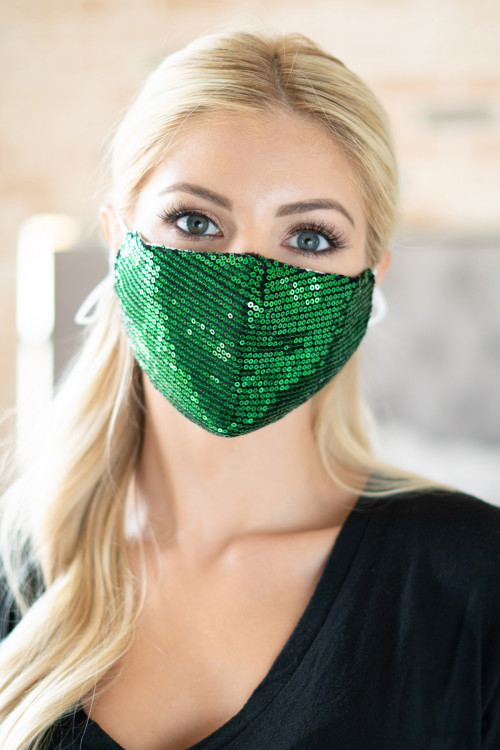 S4-9-3-AMSK2001GR GREEN GLITTER SEQUINS FASHION FACE MASK W/ FILTER POCKET/6PCS  ***WARNING: California Proposition 65***