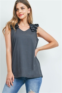S8-8-52-MT-57096-AGY - BRUSHED DTY RUFFLE TRIM SLEEVELESS TOP- ASH GREY 1-1-2-2