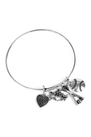 S6-4-3-AMYB1004BS SILVER SOFTBALL BRACELET/12PCS