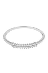 S6-5-2-AMYB1026R RHODIUM TAPERED ROUND ZIRCON BANGLE BRACELET/6PCS