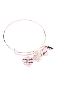S6-4-4-AMYB1030RG ROSE GOLD SISTER'S LOVE HEART CHARM BANGLE BRACELET/6PCS