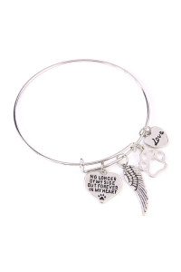 S5-6-3-AMYB1033BSR BURNISH SILVER RHODIUM FOREVER IN MY HEART CHARM BANGLE BRACELET/6PCS