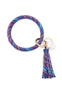 S7-5-3-AMYB1034-16 PURPLE STRIPED LEATHER COATED KEY RING WITH PENDANT CHARM AND LEATHER TASSEL/6PCS