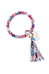 S6-6-2-AMYB1034-22 FLORAL 1 LEATHER COATED KEY RING WITH PENDANT CHARM AND LEATHER TASSEL/6PCS