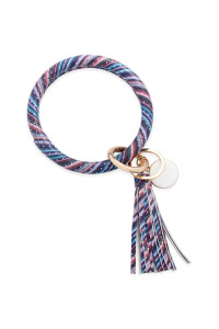 SA4-1-2-AMYB1034-27 MULTI COLOR LEATHER COATED KEY RING WITH PENDANT CHARM AND LEATHER TASSEL/6PCS