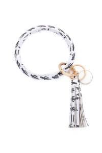 S7-6-3-AMYB1034-28 WHITE CACTUS LEATHER COATED KEY RING WITH PENDANT CHARM AND LEATHER TASSEL/6PCS