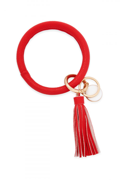 S7-6-3-AMYB1034-3RD RED LEATHER COATED KEY RING WITH PENDANT CHARM AND LEATHER TASSEL/6PCS