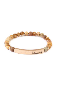 A1-3-2-AMYB1043LCT BROWN BLESSED NATURAL STONE STRETCH BRACELET/6PCS