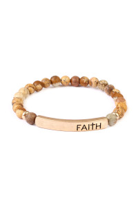 A1-3-2-AMYB1044LCT BROWN FAITH NATURAL STONE STRETCH BRACELET/6PCS