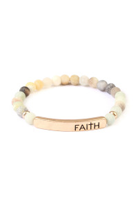 A1-3-2-AMYB1044POM AMAZONITE FAITH NATURAL STONE STRETCH BRACELET/6PCS
