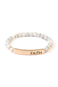 A1-3-2-AMYB1044WHG WHITE FAITH NATURAL STONE STRETCH BRACELET/6PCS