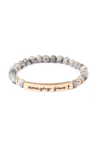 S19-9-3-AMYB1045JT JET BLACK AMAZING GRACE NATURAL STONE STRETCH BRACELET/6PCS