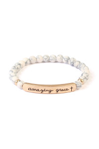S19-9-3-AMYB1045WHG WHITE AMAZING GRACE NATURAL STONE STRETCH BRACELET/6PCS