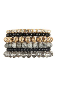 S22-4-1-MYB1051BK - SIX LINE MIX BEADS BRACELET - BLACK/6PCS