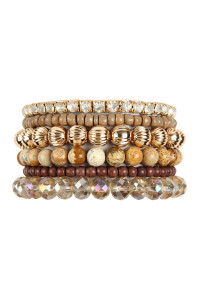S22-4-1-MYB1051LCT - SIX LINE MIX BEADS BRACELET - BROWN/6PCS