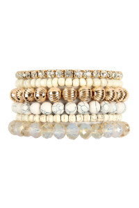 S22-4-1-MYB1051WH - SIX LINE MIX BEADS BRACELET - WHITE/6PCS