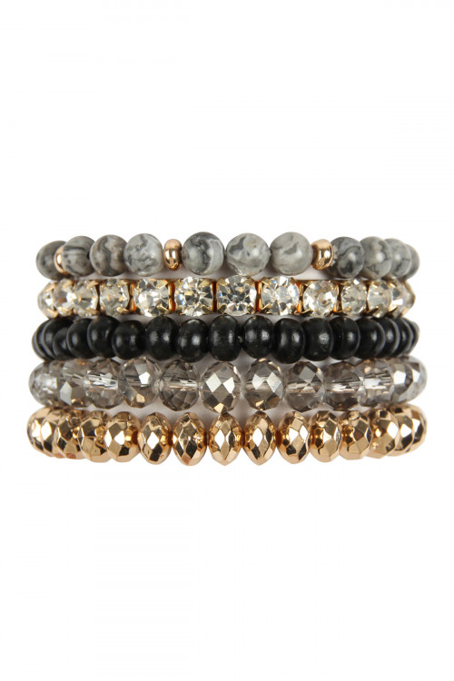 A2-3-4-AMYB1052BK BLACK FIVE LINE MIX BEADS BRACELET/6PCS