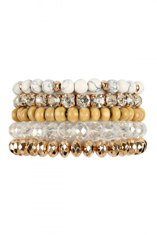 A2-3-4-AMYB1052WH WHITE FIVE LINE MIX BEADS BRACELET/6PCS