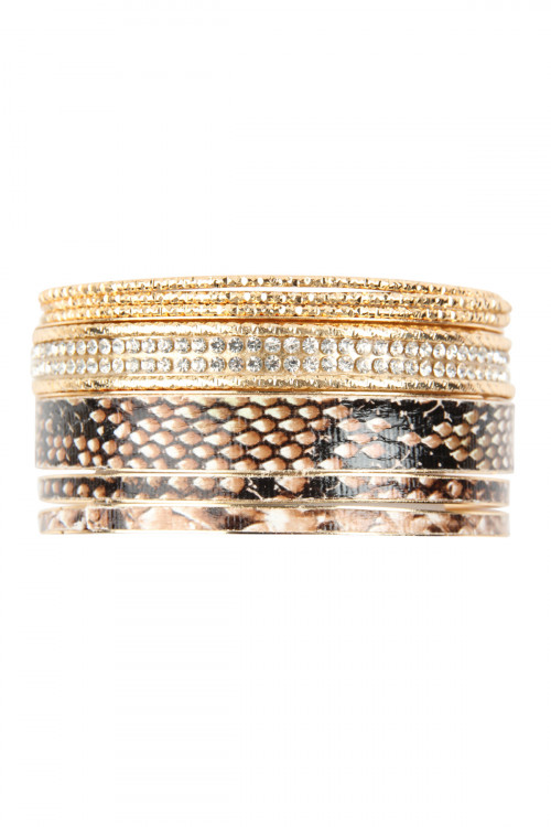 A3-3-1-AMYB1081LBR LIGHT BROWN MULTI LINE SNAKE SKIN PRINTED BANGLE/6PCS