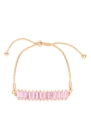 S27-8-3-MYB1378GPK-GLASS STONE FASHION BRACELET-PINK/6PCS