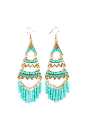 S6-4-3-AMYE1000GDTQ GOLD TURQUOISE EARRING/6PAIRS