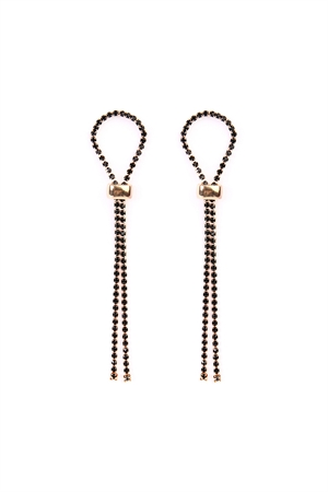 S6-4-3-AMYE1020GDBK GOLD BLACK BEAD DOUBLE TASSEL EARRING/6PAIRS