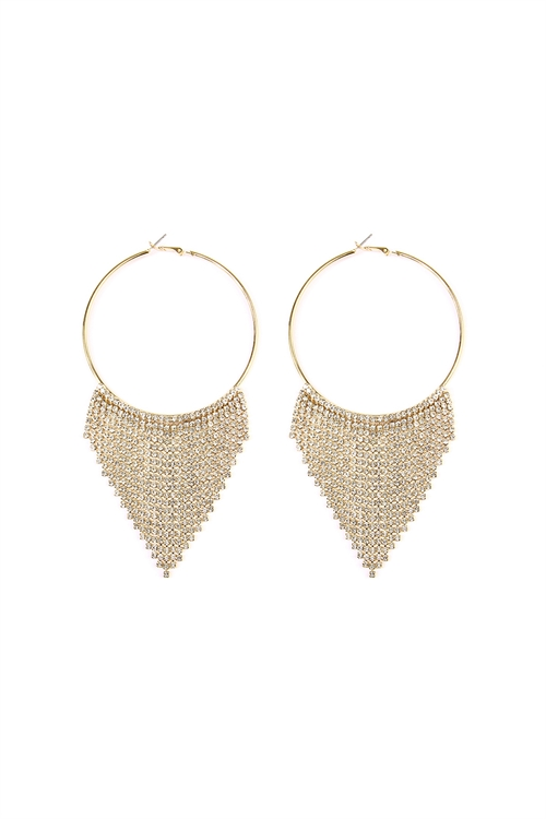 A3-3-4-AMYE1022GDCLR-V GOLD CLEAR TASSEL DANGLING HOOP EARRING/6PAIRS