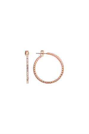 SA3-2-2-AMYE1025-30RG ROSE GOLD 30mm RHINESTONE HOOP EARRINGS/6PAIRS