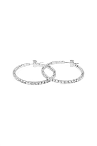 SA3-2-4-AMYE1025-30S SILVER 30mm RHINESTONE HOOP EARRINGS/6PAIRS