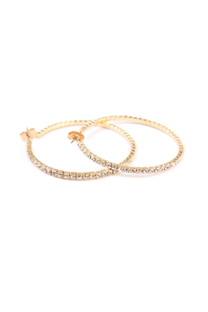 SA4-3-2-AMYE1025-40G GOLD 40mm RHINESTONE HOOP EARRINGS/6PAIRS