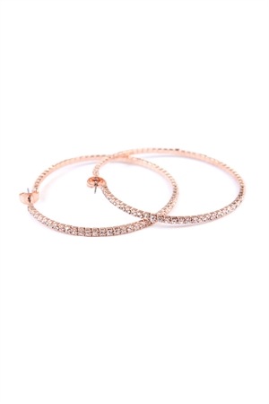 S7-6-2-AMYE1025-50RG ROSE GOLD 50mm RHINESTONE HOOP EARRINGS/6PAIRS