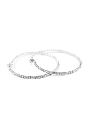 S7-6-2-AMYE1025-50S SILVER 50mm RHINESTONE HOOP EARRINGS/6PAIRS