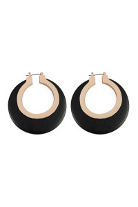SA3-2-2-AMYE1028BK BLACK WOOD IN METAL HINGE HOOP EARRINGS/6PAIRS