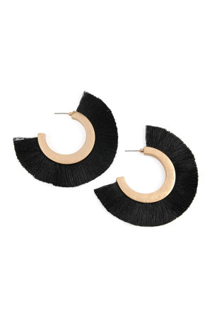 SA3-1-2-AMYE1037BK BLACK TASSEL HOOP METAL POST EARRINGS/6PAIRS