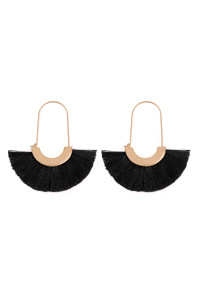 A2-2-3-AMYE1038BK BLACK FAN SHAPE DROP HOOP EARRINGS/6PAIRS