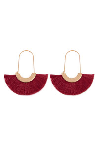 SA3-1-4-AMYE1038BU BURGUNDY FAN SHAPE DROP HOOP EARRINGS/6PAIRS