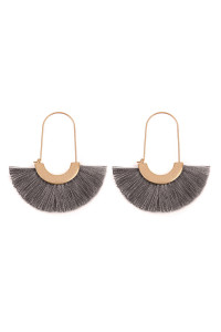 SA3-1-4-AMYE1038DGY DARK GRAY FAN SHAPE DROP HOOP EARRINGS/6PAIRS
