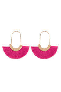 SA3-1-4-AMYE1038HPK HOT PINK FAN SHAPE DROP HOOP EARRINGS/6PAIRS