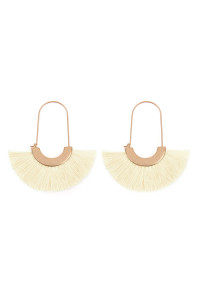 A2-3-2-AMYE1038IV IVORY FAN SHAPE DROP HOOP EARRINGS/6PAIRS