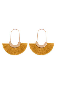 SA3-3-2-AMYE1038MU MUSTARD FAN SHAPE DROP HOOP EARRINGS/6PAIRS