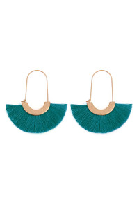 A1-1-2-AMYE1038TL TEAL FAN SHAPE DROP HOOP EARRINGS/6PAIRS