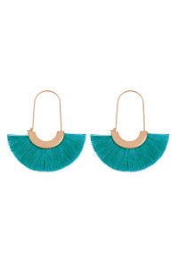 SA3-3-2-AMYE1038TQ TURQUOISE FAN SHAPE DROP HOOP EARRINGS/6PAIRS