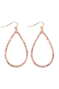 A2-2-3AMYE1039GDPK GOLD PINK RHINESTONES TEARDROP HOOK EARRINGS/6PAIRS