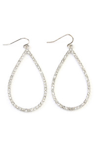 SA3-2-3-AMYE1039RHCL SILVER CLEAR RHINESTONES TEARDROP HOOK EARRINGS/6PAIRS