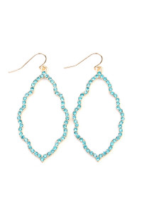 A2-2-3-AMYE1040GDAQ GOLD AQUA RHINESTONES CAST CLOUD SHAPE DROP EARRINGS/6PAIRS