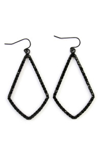 SA3-2-3-AMYE1041BKBK BLACK RHINESTONES CAST KITE SHAPE DROP EARRINGS/6PAIRS