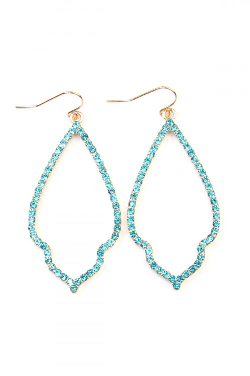 A1-2-4-AMYE1042GDAQ GOLD AQUA RHINESTONE OPEN MARQUISE DROP EARRINGS/6PAIRS